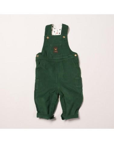 Salopette per bambini in velluto verde di cotone biologico equosolidale. 9-12 mesi