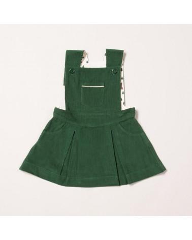 Salopette verde con gonna per bambina in velluto di cotone biologico equosolidale. 12-18 mesi