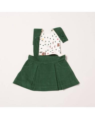 Salopette verde con gonna per bambina in velluto di cotone biologico equosolidale. 2-3 anni