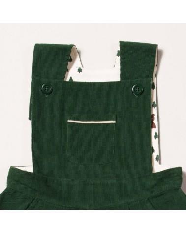Salopette verde con gonna per bambina in velluto di cotone biologico equosolidale. 9-12 mesi