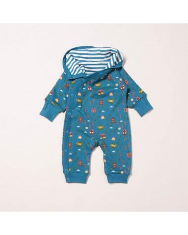 Tutina felpata con cappuccio per neonato in cotone biologico equosolidale. Reversibile. 3-6 mesi