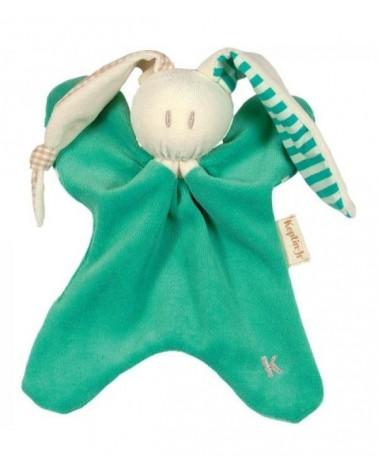 Doudou neonato in cotone bio verde petrolio.