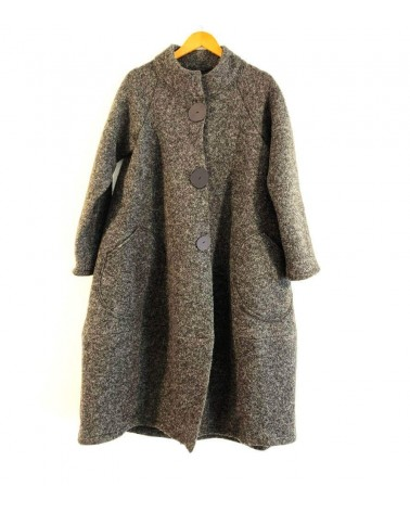 Cappotto tortora lungo in lana, articolo di sartoria. Taglia M
