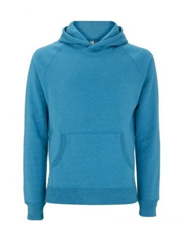 Felpa con cappuccio tessuto riciclato blu, taglia XS. Prodotto ecologico.