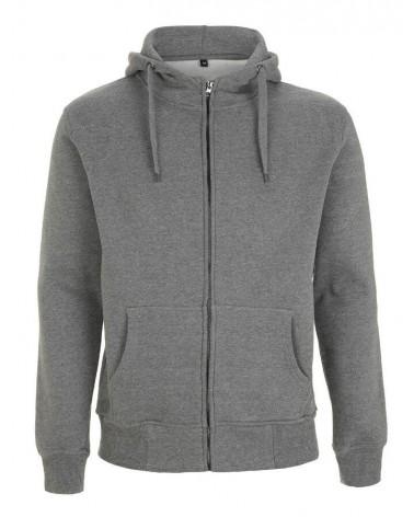 Felpa collo alto grigio scuro con cappuccio e zip in cotone.