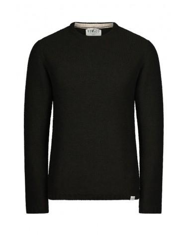 Maglione nero uomo tinta unita in lana merino.