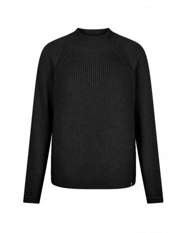 Maglione nero tinta unita in lana merino.