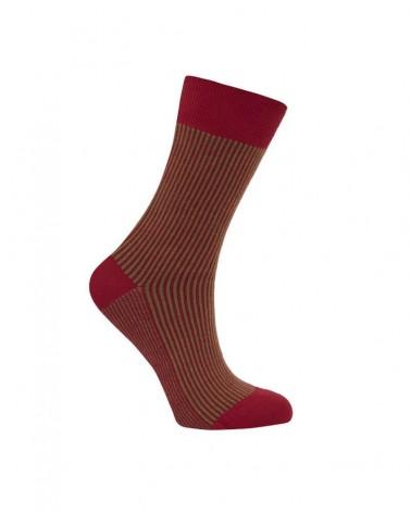 Calze in cotone bio caldo, righe verticali rosso e verde. 44-46