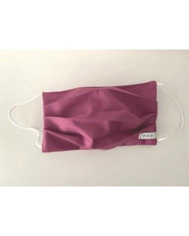 Mascherina covid19 doppio strato di cotone viola. Articolo di sartoria.