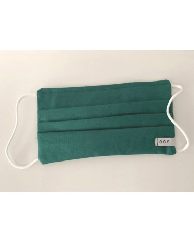 Mascherina covid19 doppio strato di cotone verde. Articolo di sartoria.
