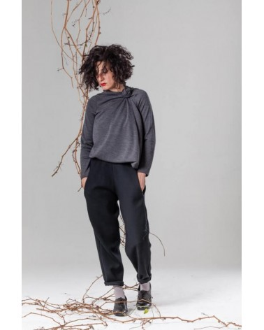 Pantalone invernale donna in lana, sartoria creativa Made in Italy. Antracite