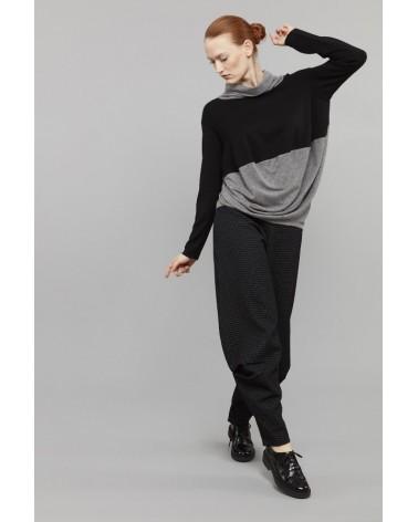 Pantalone sartoriale donna in lana. Made in Italy. Grigio quadretti