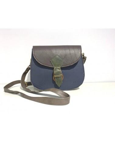 Borsa ecologica in pelle con tracolla. Upcycling bag. Moro e blu.