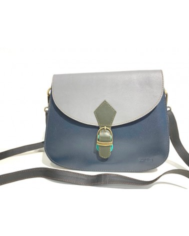 Borsa ecologica in pelle con tracolla. Upcycling bag, grigio e blu.