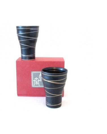Set due tazze nere in ceramica giapponese. Made in Japan