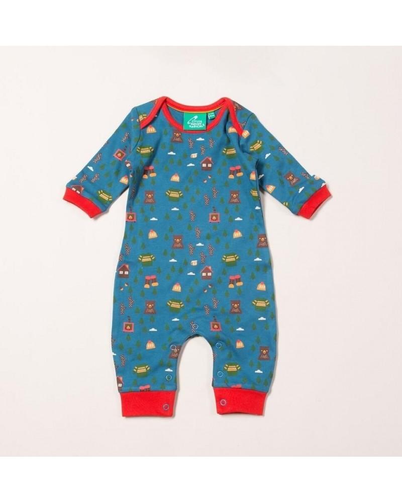 Tutina neonato blu in cotone biologico invernale. Blu 3-6 mesi