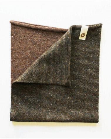 Scaldacollo in lana e seta rigenerata, talpa/verde.