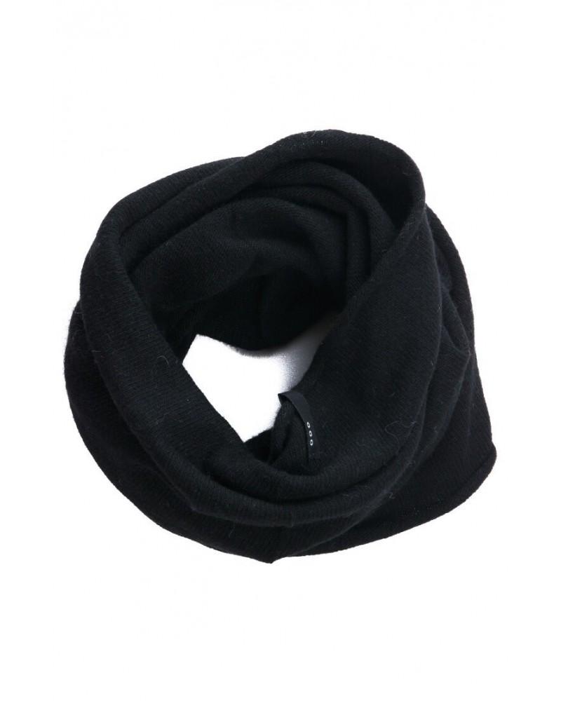 Scaldacollo in lana e seta rigenerata, nero/bordeaux.