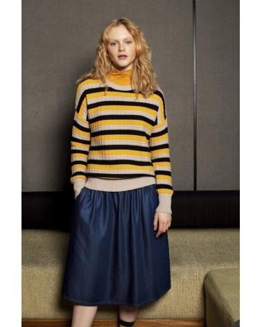 Maglione donna righe giallo e nero in cotone bio, Komodo.