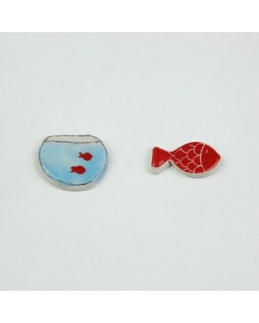 Orecchini a lobo artigianali in ceramica. Anallergici. Pesce rosso.