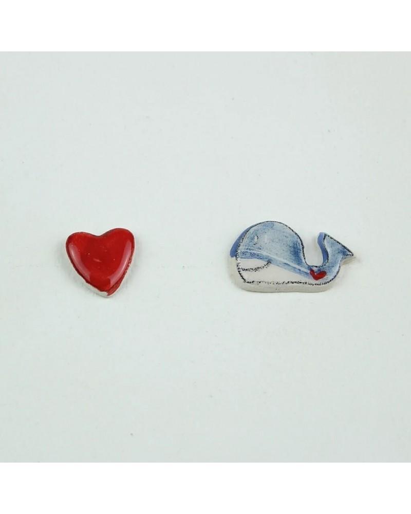 Orecchini a lobo artigianali in ceramica. Anallergici. Balena