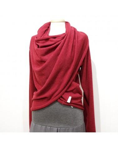 Maglia donna trasformabile in lana maniche lunghe, nero. Taglia SM
