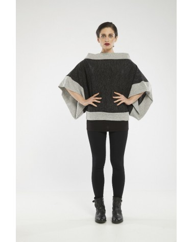 Maglia sartoriale in lana trasformabile, viola e grigio. Taglia SM