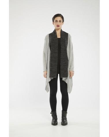 Maglia sartoriale in lana trasformabile, nero e avorio, taglia SM