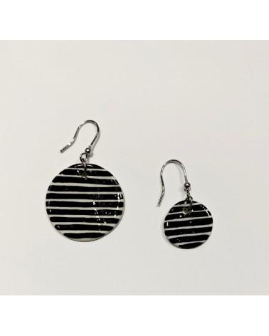 Orecchini pendenti artigianali in ceramica, circolari. Righe