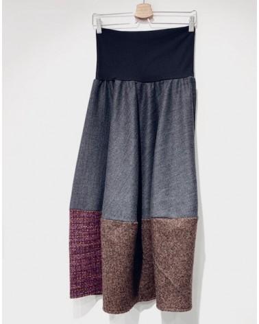 Gonna sartoriale lunga in lana antracite con inserto ruggine. Made in Italy Tg S.