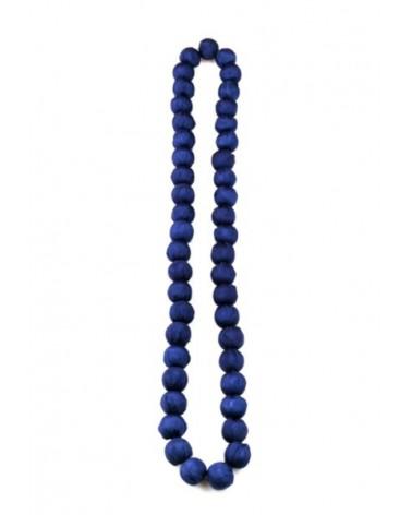 Collana blu in seta e legno, tinture ecologiche.