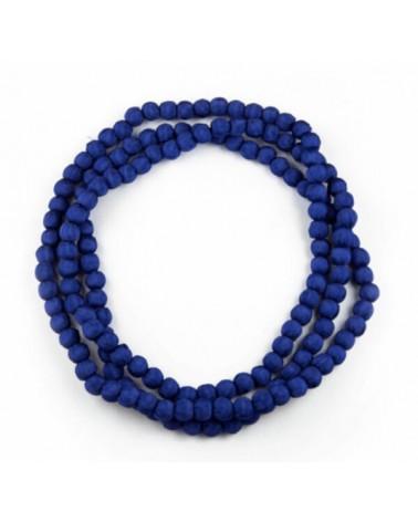 Collana lunga blu in seta e legno, tinture ecologiche.
