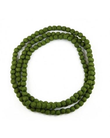 Collana lunga verde in seta e legno, tinture ecologiche.