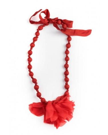 Collana rossa in seta e legno con fiocco, tinture ecologiche.
