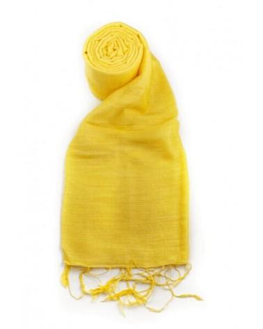 Sciarpa gialla in seta e lino tinture ecologiche. Filo medio