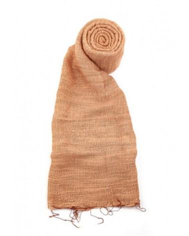 Sciarpa mattone in seta e lino tinture ecologiche. Filo medio