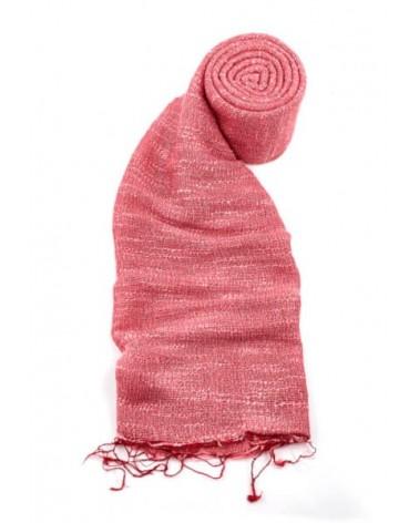Sciarpa rossa in seta e lino tinture ecologiche. Filo medio