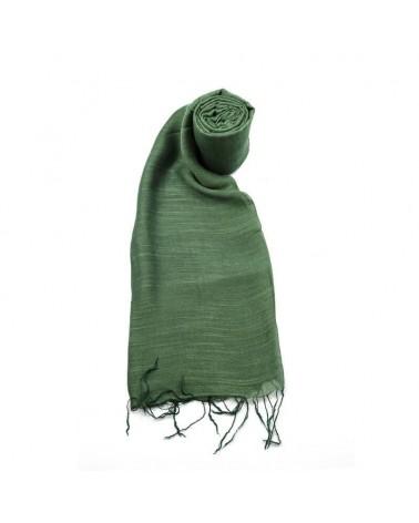 Sciarpa verde in seta e lino tinture ecologiche. Filo fine