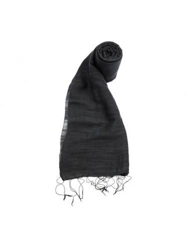 Sciarpa nera in seta e lino tinture ecologiche. Filo fine