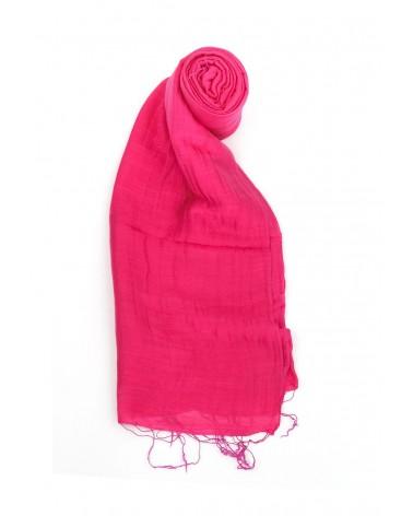Sciarpa ciclamino in seta e lino tinture ecologiche. Filo fine