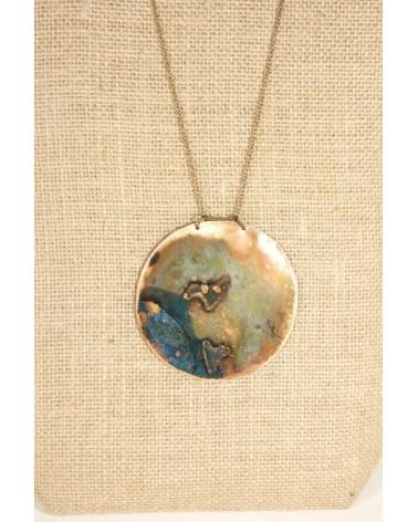 Collana artigianale in metallo ossidato, cerchio.